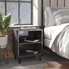Tables de chevet pieds en métal 2 pcs Gris brillant 40x30x50 cm