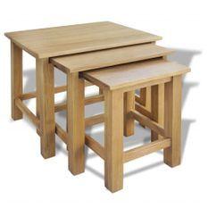 Tables gigognes 3 pcs Bois de chêne massif