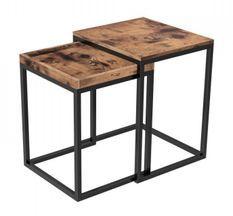 Tables gigognes marron vintage style industriel Kaza - Lot de 2