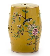 Tabouret bas oriental jaune motifs fleurs