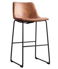 Tabouret de bar simili cuir vernie camel et acier noir Famou