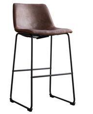 Tabouret de bar simili cuir vernie marron café et acier noir Famou