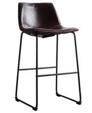 Tabouret de bar simili cuir vernie marron foncé et acier noir Famou