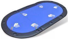 Tapis de jeu de poker pliable 10 joueurs bleu Pro