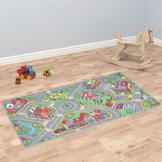 Tapis de jeu Poil à boucle 90 x 200 cm Motif de route de ville
