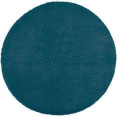 Tapis doux effet fourrure - Bleu canard - D 80 cm