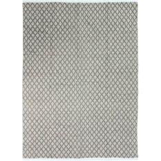 Tapis Terra - 120 x 170 cm - Bande croisillons blanc et sable