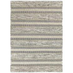 Tapis Terra - 120 x 170 cm - Bande ethno blanc et sable