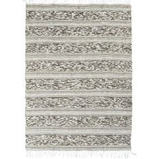 Tapis Terra - 120 x 170 cm - Bande relief blanc et sable