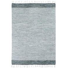 Tapis Terra - 120 x 170 cm - Bandes gris, argent et blanc