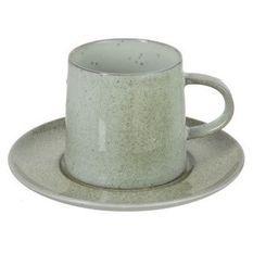 Tasse et sous-tasse porcelaine vert menthe Uchi
