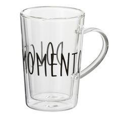 Tasse verre transparent et noir momento Bothar - Lot de 12