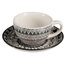 Tasses et sous-tasses céramique noir et blanc Bialli - Lot de 12