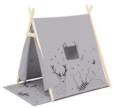 Tente avec tapis tissu gris Lil' Tente