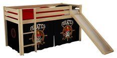 Tente pour lit mezzanine tissu noir Pirates