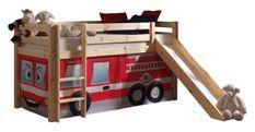 Tente pour lit mezzanine tissu rouge Pompier