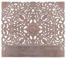 Tête de lit bois sculpté foncé Siera 160