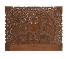 Tête de lit provençale bois sculpté foncé Siera 160