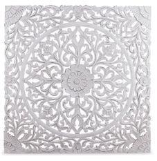 Tête de lit provençale bois sculpté peint blanc Flaria 140