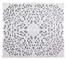 Tête de lit provençale bois sculpté peint blanc Flaria 160