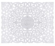 Tête de lit provençale bois sculpté peint blanc Flaria 180