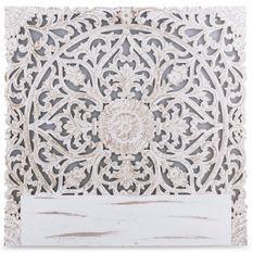 Tête de lit provençale bois sculpté peint blanc Siera 140