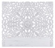 Tête de lit provençale bois sculpté peint blanc Siera 160
