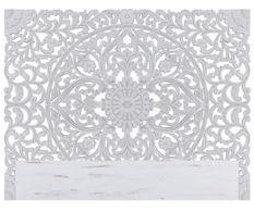 Tête de lit provençale bois sculpté peint blanc Siera 180