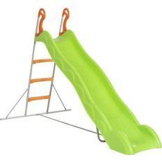 Toboggan LINOU de 2,63m de glisse , coloris vert avec 3 echelons anti-dérapants coloris orange, structure métal coloris gris.