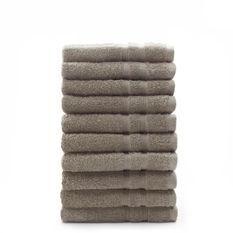 TODAY Lot de 10 Serviettes de toilette Mastic - 100% Coton - 50 x 100 cm