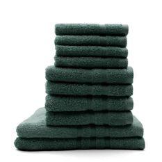 TODAY Lot de 4 Serviettes de bain 30 x 50 cm + 4 Serviettes de bain 50 x 100 cm + 2 Draps de bain 70 x 130 cm Emeraude - 100% coton