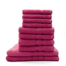 TODAY Lot de 4 Serviettes de bain 30 x 50 cm + 4 Serviettes de bain 50 x 100 cm Jus de Myrtille - 100% coton