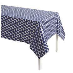 TODAY Nappe Imprimée CYCLADES 140x240 100% coton Bleu et blanc