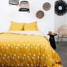 TODAY Parure de lit 2 personnes - 220 x 240 cm - Coton imprime jaune Ethnique DESERT CHIK Namib