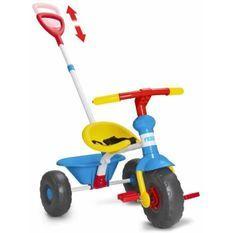 Tricycle Baby Trike 3 en 1 - bleu et jaune - FEBER - canne ajustable