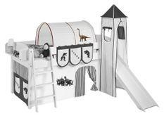 Tunnel beige et marron dinosaures Milo pour lit mezzanine enfant