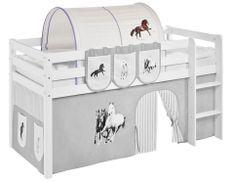 Tunnel beige et parme chevaux Milo pour lit mezzanine enfant
