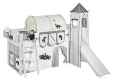 Tunnel beige et vert dinosaures pour lit enfant