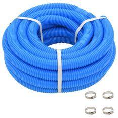 Tuyau de piscine avec colliers de serrage bleu 38 mm 12 m