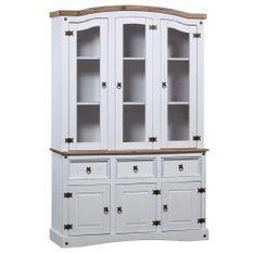 Vaisselier 3 portes 3 tiroirs pin massif ciré blanc et bois clair Harrie