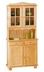 Vaisselier 4 portes 2 tiroirs pin massif clair Vencia