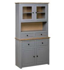Vaisselier 4 portes 4 tiroirs pin massif gris et clair Iris