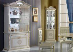 Vaisselier 4 portes bois brillant beige et doré Venus