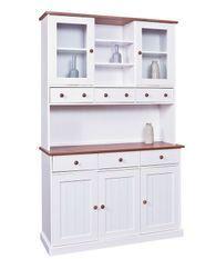 Vaisselier 5 portes pin massif foncé et blanc Campanou 131 cm