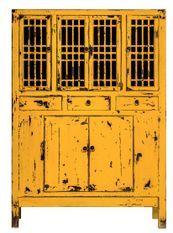 Vaisselier 6 portes 3 tiroirs pin massif recyclé jaune Juan