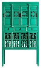 Vaisselier 8 portes 3 tiroirs pin massif recyclé vert Arjun