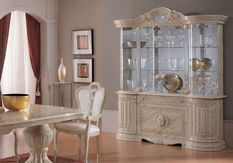 Vaisselier 8 portes bois laqué beige effet marbre Leslie