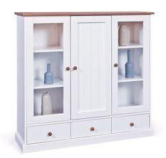 Vaisselier 3 portes pin massif foncé et blanc Campanou 131 cm