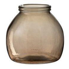 Vase boule verre marron clair Liray