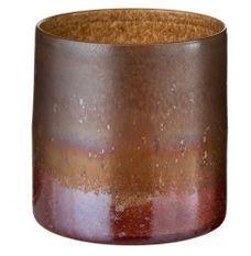 Vase cylindrique verre ocre et bordeaux Winno H 19 - Lot de 2